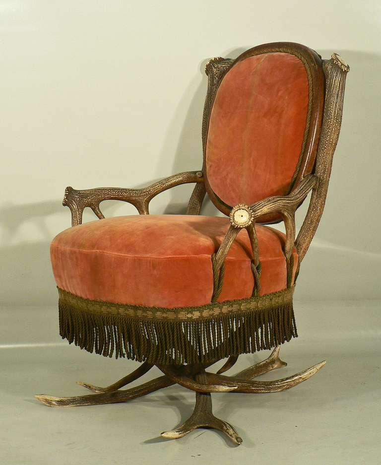 Black Forest Antler Easy Chair, Austria, circa 1880 For Sale