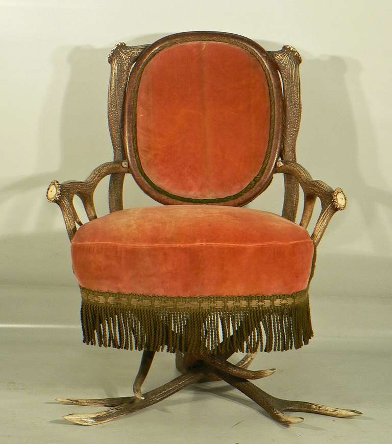 A rare antler armchair made of great original horns from the deer. Executed circa 1880, Austria.