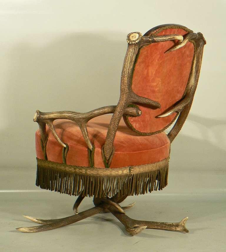 Austrian Antler Easy Chair, Austria, circa 1880 For Sale