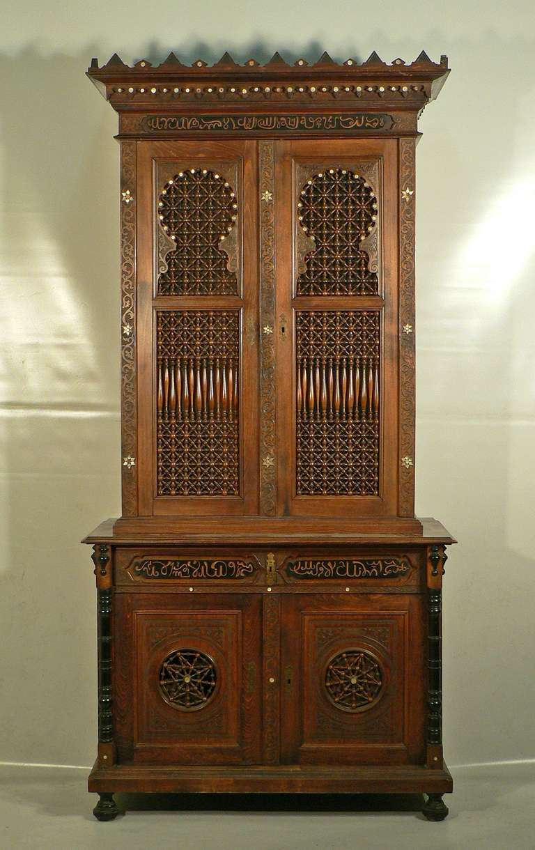 carved wood arabian style cupboard germany circa 1910 at