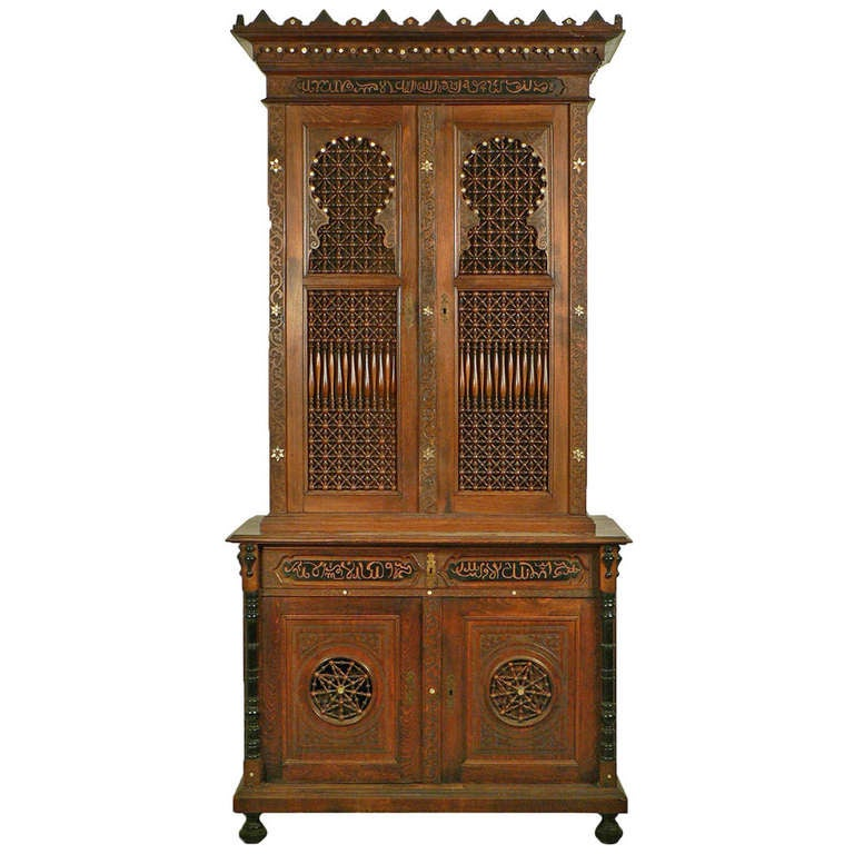 Carved Wood Moroccan Style Cupboard, Germany, Circa 1910 For Sale