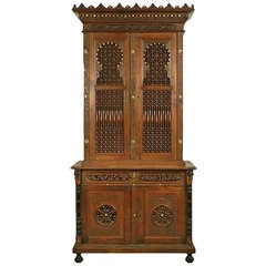 Carved Wood Moroccan Style Cupboard, Germany, circa 1910