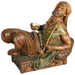 Carved Wood Coffee Drinking Arab Statue, Austria, circa 1900