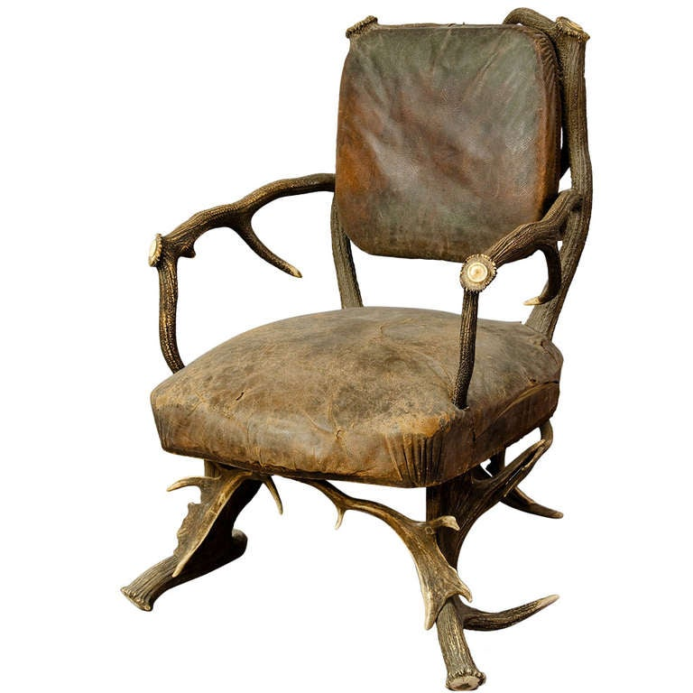 Antique Black Forest Antler Arm Chair, Austria 1890