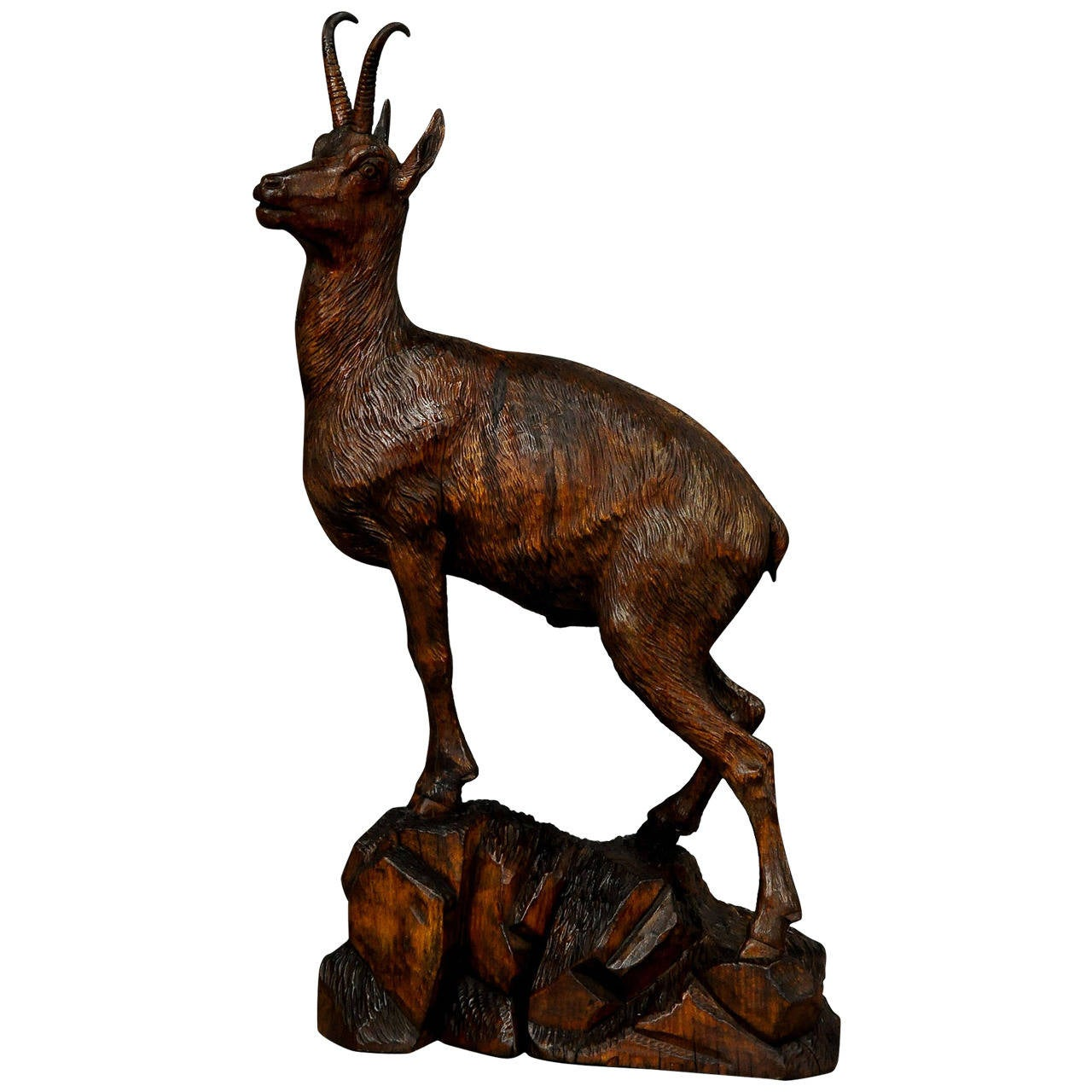 Large carved wood chamois by ernst heissl at stdibs