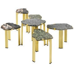'Pathway Mix' Set of Six Coffee or Side Tables by Taher Chemirik