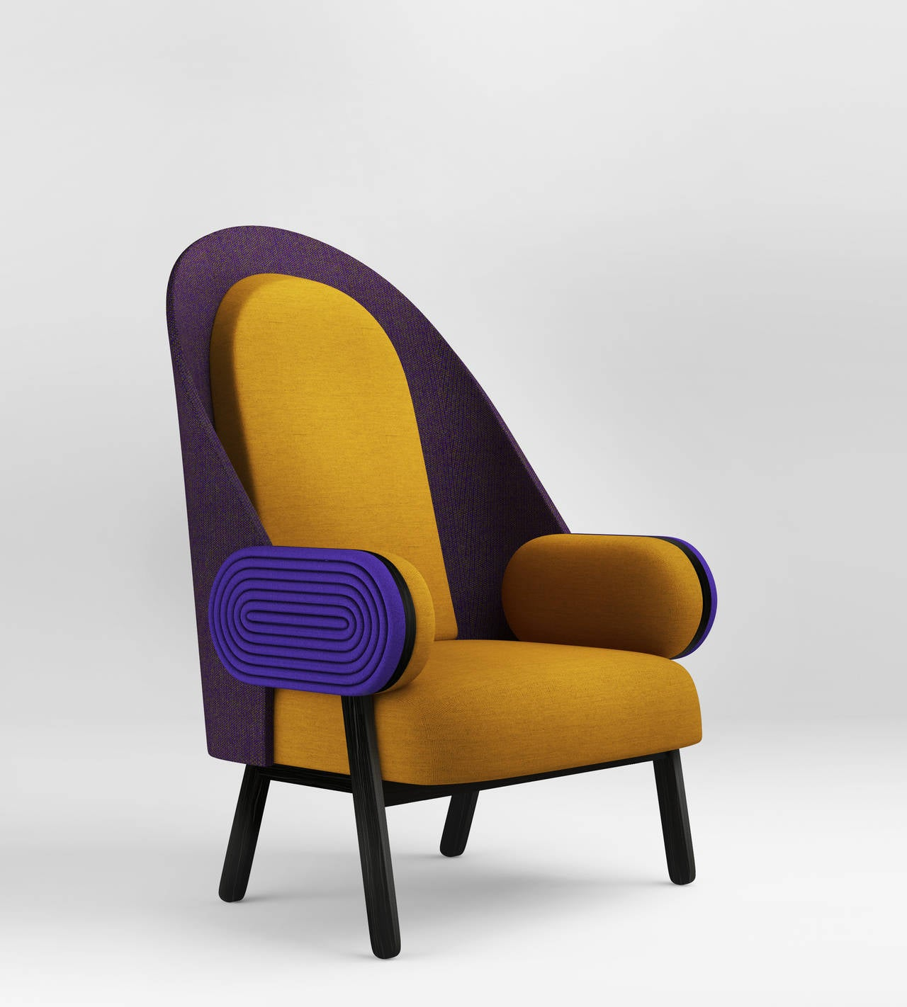 By French Lebanese designer Charles Kalpakian, 'MOON' is a contemporary armchair with a vintage twist in Kvadrat upholstery. Its very high back and its unusual width and depth (80 cm both) make it particularly welcoming and comfortable. This