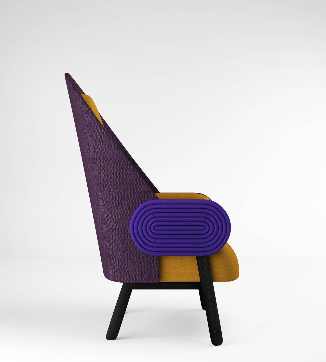 Ebonized 'MOON-C', Contemporary Armchair with a Vintage Twist in Limited Edition For Sale