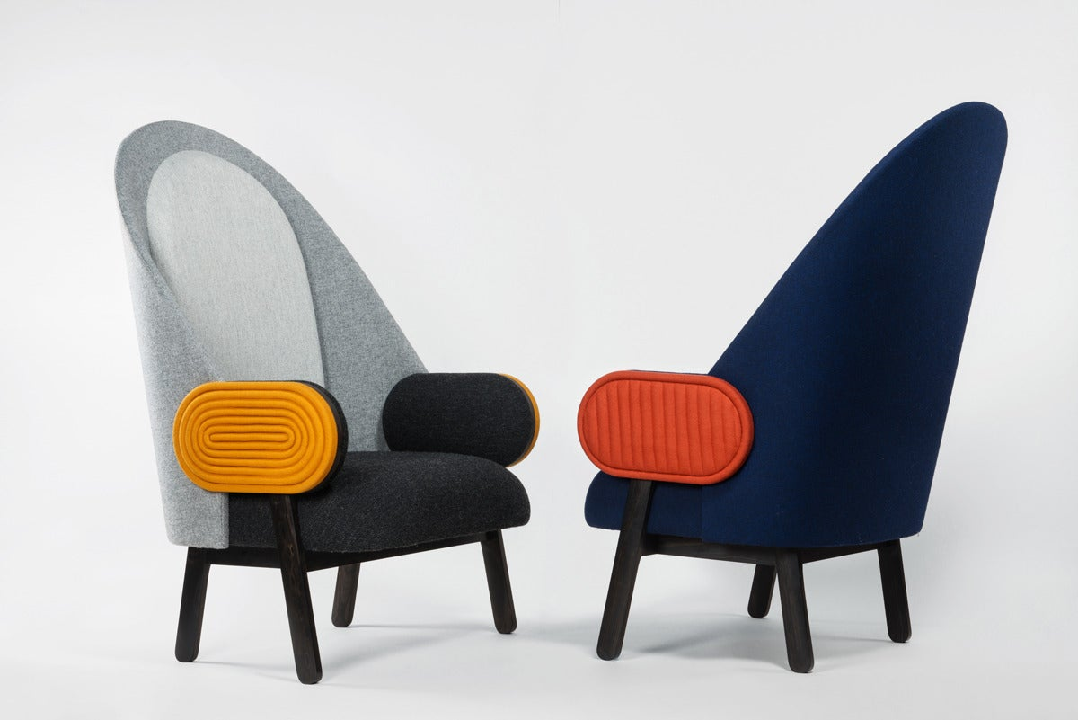 Fabric 'MOON-C', Contemporary Armchair with a Vintage Twist in Limited Edition For Sale