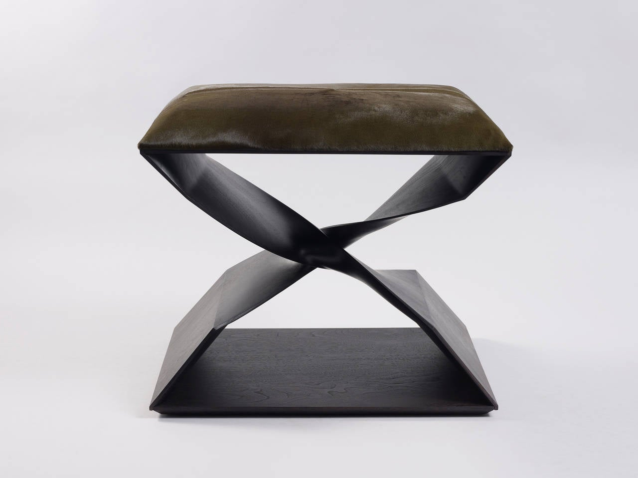 American 'Sculptural Twist Stool' in Ebonized Sapele by Carol Egan For Sale