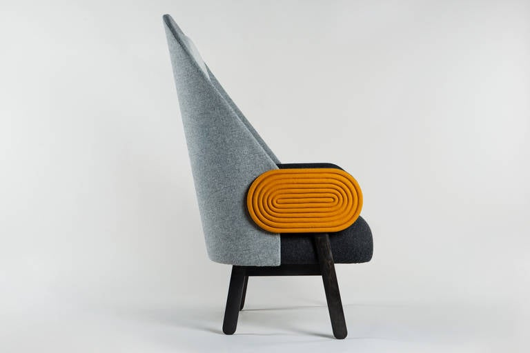 Ebonized Collectible Design 'Moon' Armchair, a Contemporary Piece with a Vintage Twist For Sale