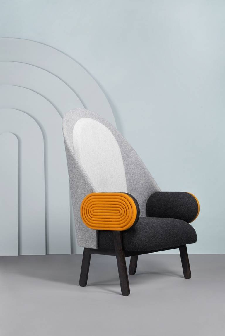 Ebony Collectible Design 'Moon' Armchair, a Contemporary Piece with a Vintage Twist For Sale