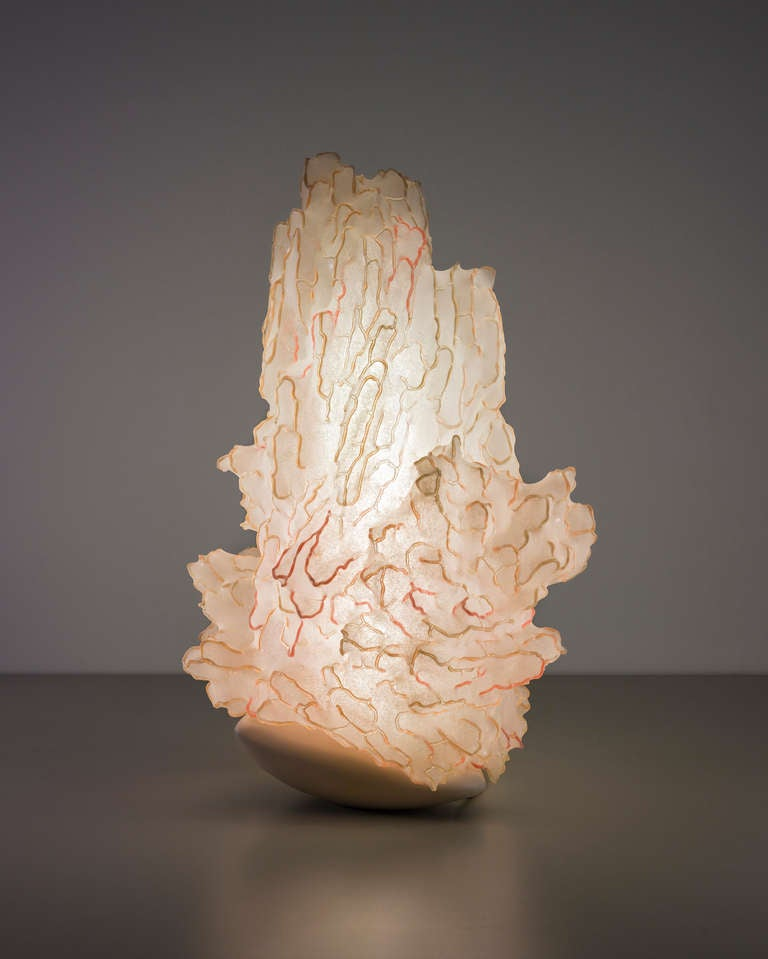'Soma The Rest at Sunset' is a unique light sculpture reminiscent of biomorphic forms. It is part of the 'Soma' collection, a set of incredibly intangible luminous sculptures notably included in the collections of the Metropolitan Museum and the