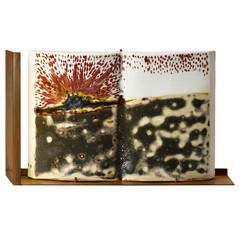 'Volcano Fire', a Unique Handmade Porcelain Book and Table Lighting Sculpture