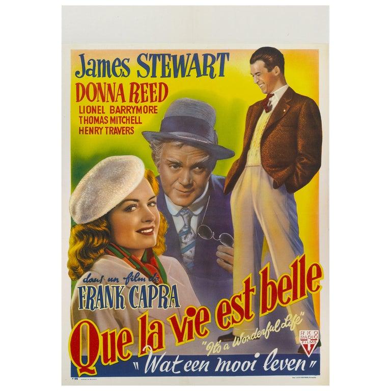 """Que la vie est belle """"It's a Wonderful Life,"""" Original Belgian Movie Poster  For Sale"""