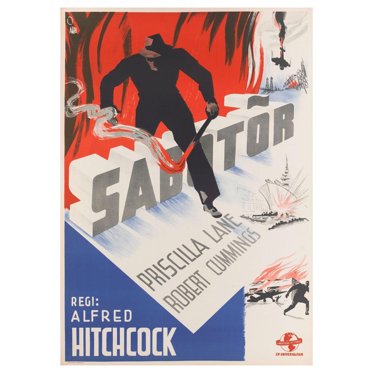 """Sabotor,"" Original Swedish Movie Poster"