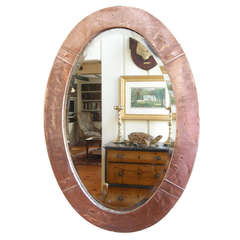 English Arts & Crafts Hammered Copper Oval Mirror