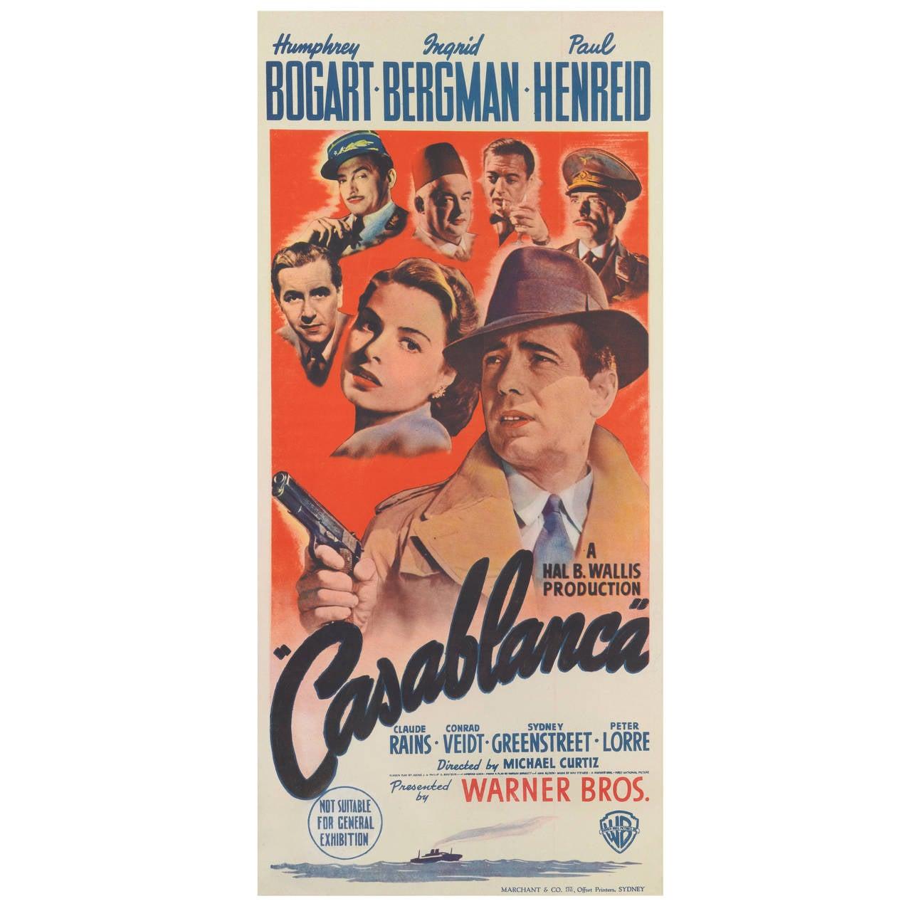 Casablanca original australian film poster for sale at 1stdibs for Poster casablanca