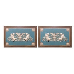 Large Pair of French Directoire Over Door Panels