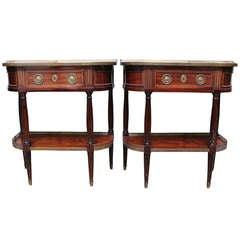 A Pair of 19th Century French Louis XVI Style Console Tables