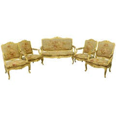 A French Louis XV Style Carved Giltwood Salon
