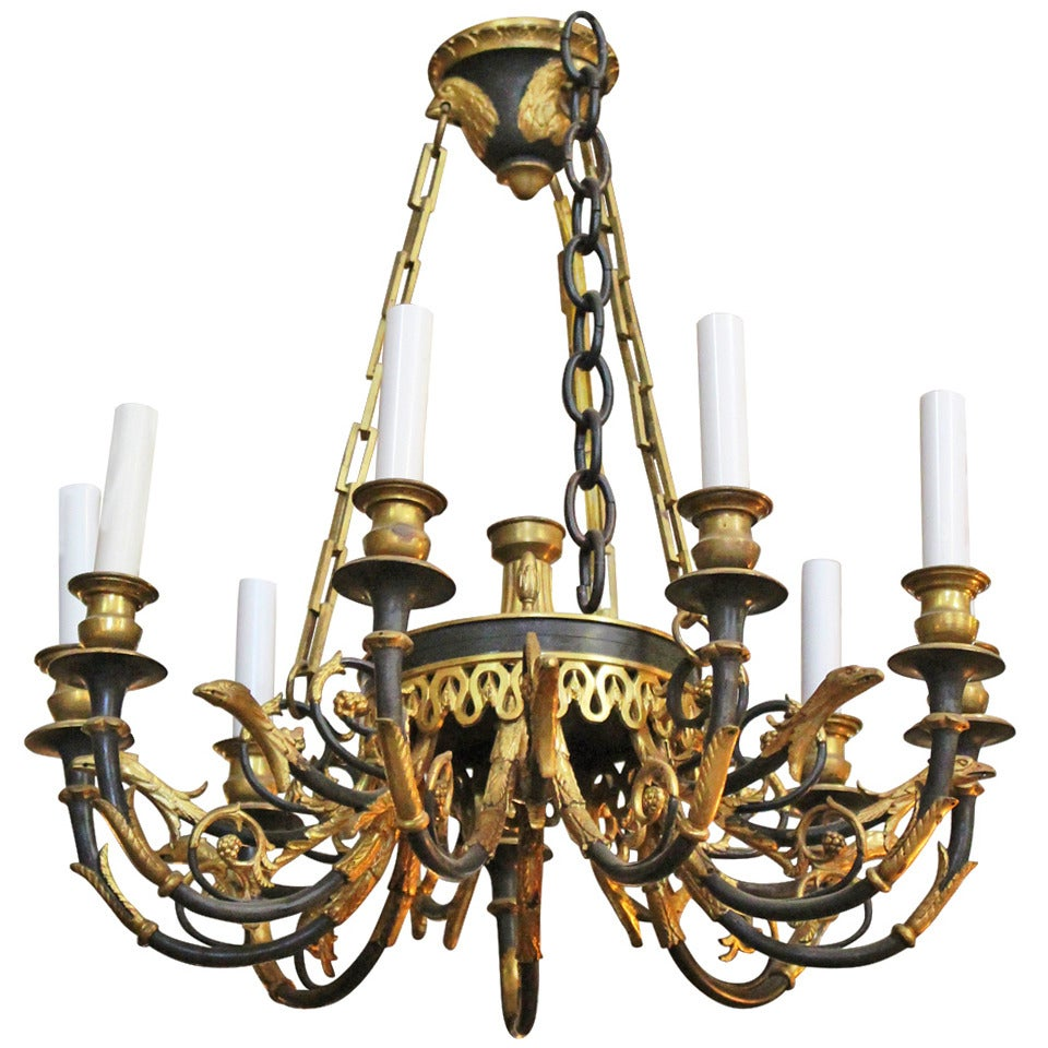 French First Empire Style Bronze Chandelier