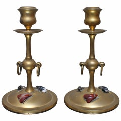 Pair of Bronze Candlesticks with Carved Stone Moths