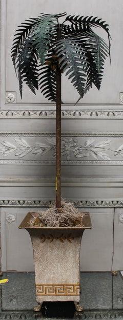 Painted Tole Palm Tree on a Tole Jardiniere Raised on Bronze Paw Feet