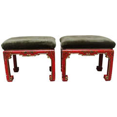 A Pair of Red Lacquered and Gilded Chinoiserie Tabourets