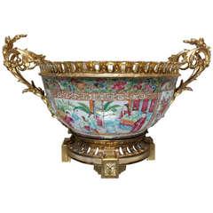 A Rose Medallion Bronze Mounted Porcelain Bowl