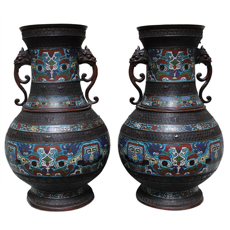 Pair Of Large 19th Century Japanese Champlev Vases With Chinese