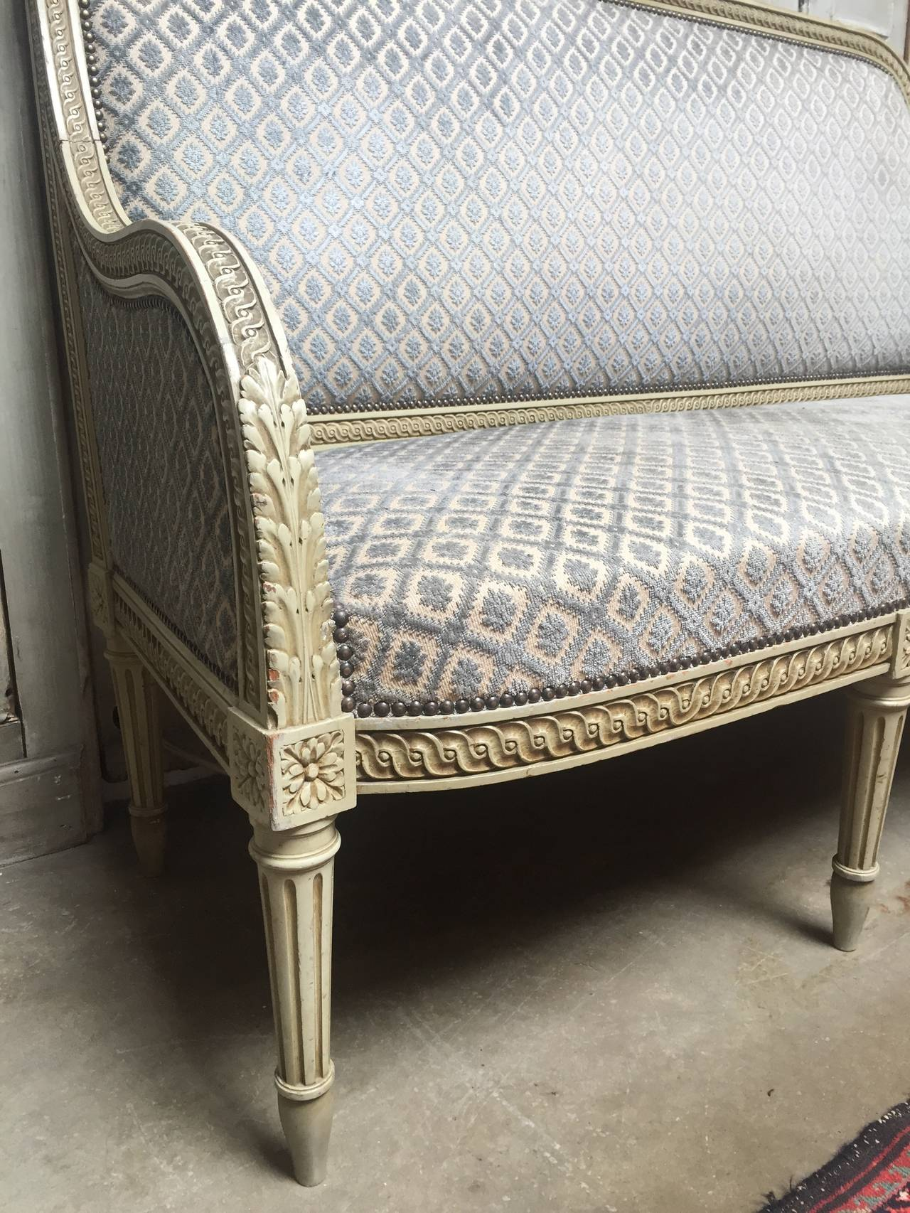 French Louis XVI Style Painted Sofa For Sale 1