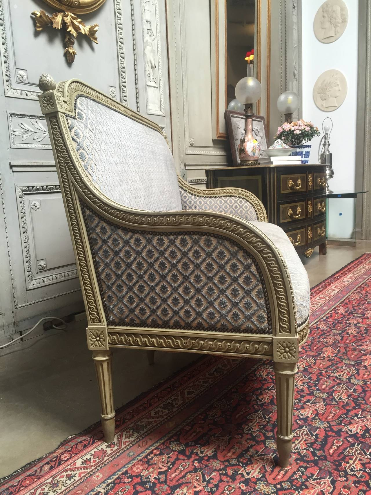 Upholstery French Louis XVI Style Painted Sofa For Sale