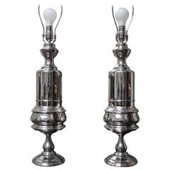 Pair of French Mazarin Style, Nickel Plated Table Lamps