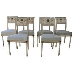Set of Six French Directoire Style Dining Chairs