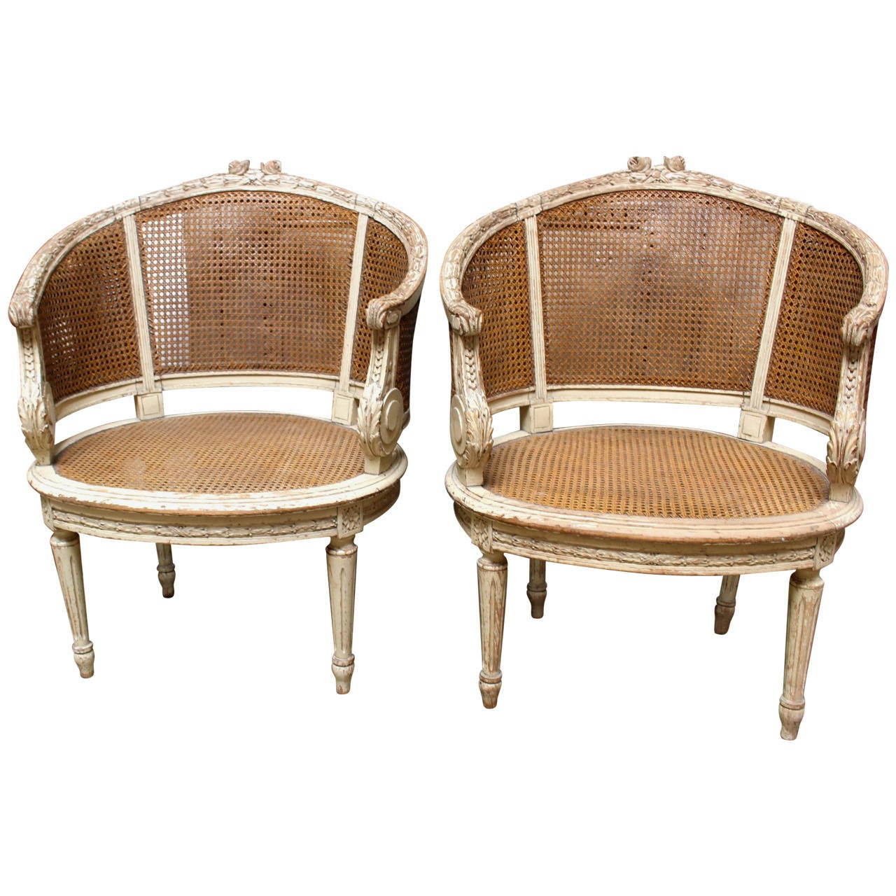 Pair Of French Louis Xvi Style Caned Bergeres In A Painted