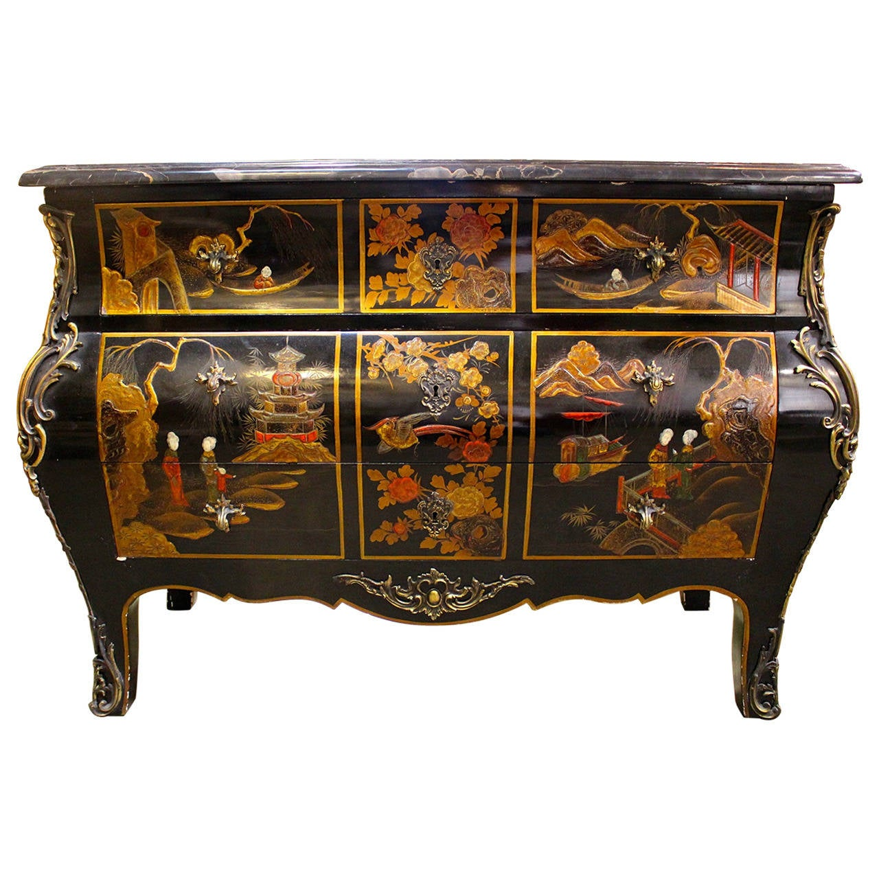 French Lacquered Chinoiserie Commode With Bronze Mounts And Marble Top At 1stdibs