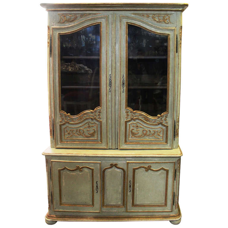 Painted and Parcel-Gilt French Regence Bibliotheque