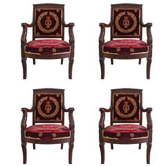 Set of Four French Empire Armchairs