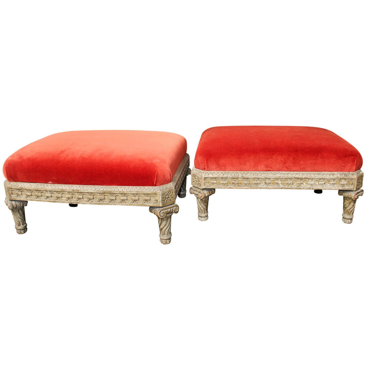 Pair of Beautifully Carved Louis XVI Style Painted Wood Tabourets