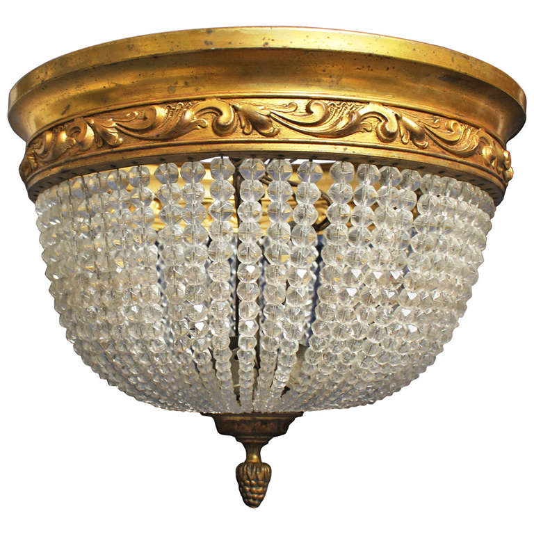 French Bronze And Crystal Ceiling Mount Light Fixture At