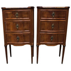 Pair of Louis XVI Side Tables with Marble Tops and Bronze Fittings
