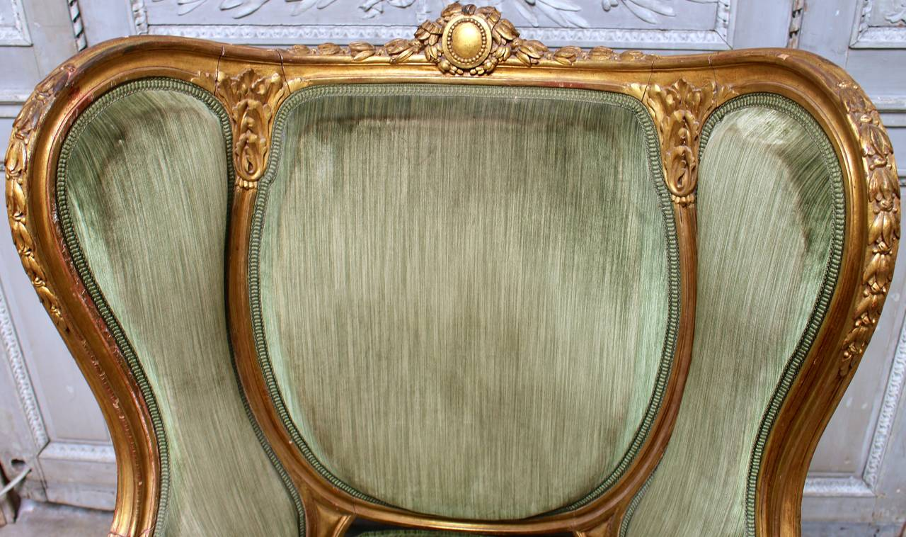 French Louis XVI Style Giltwood Bergere For Sale 1