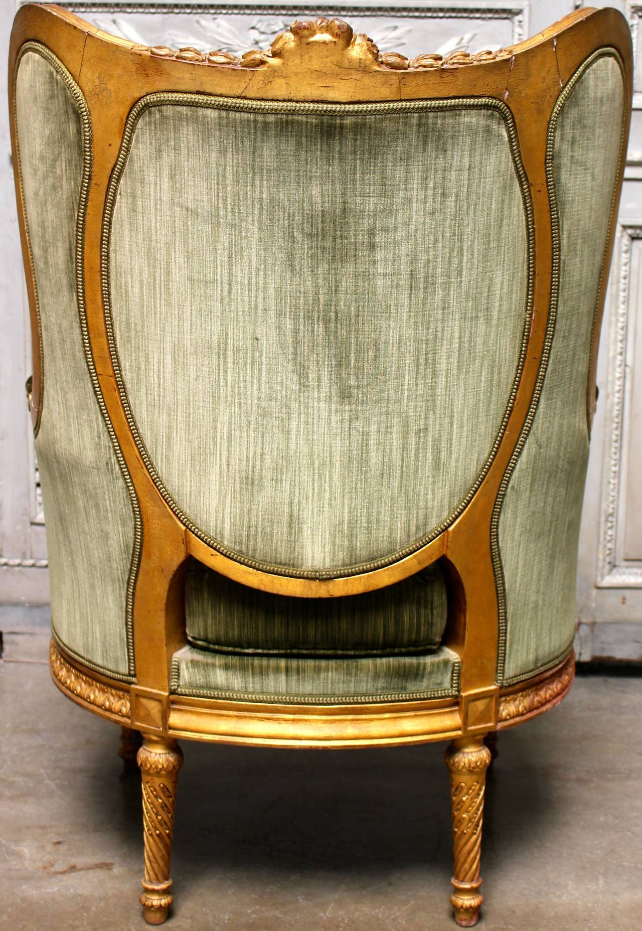Late 19th Century French Louis XVI Style Giltwood Bergere For Sale