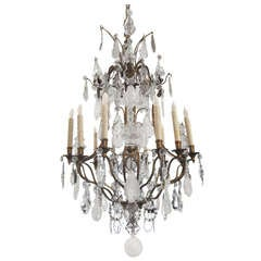 French Silvered Bronze Rock Crystal and Crystal Chandelier