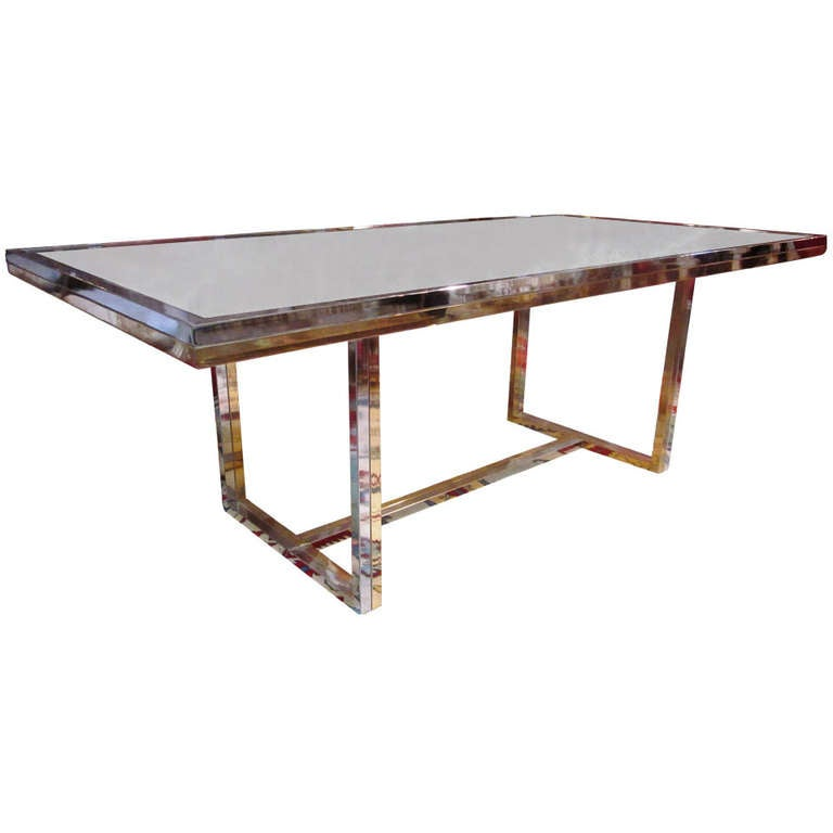 Bronze And Chrome Dining Table With Smoked Glass Top For Sale At 1stdibs