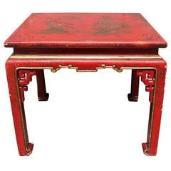 Red Lacquered Chinoiserie Table