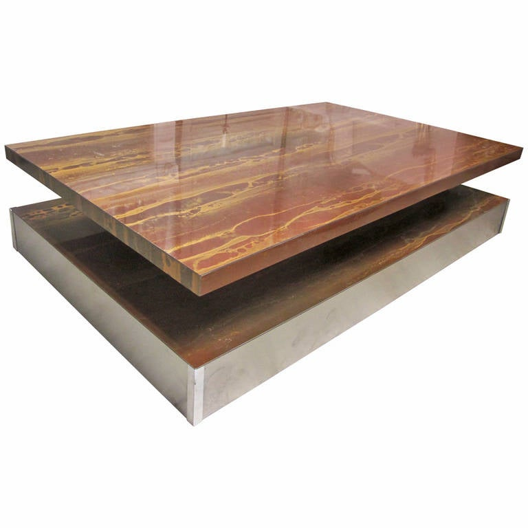 French Chrome Cocktail Table With A Faux Wood Laminate Top For Sale At 1stdibs