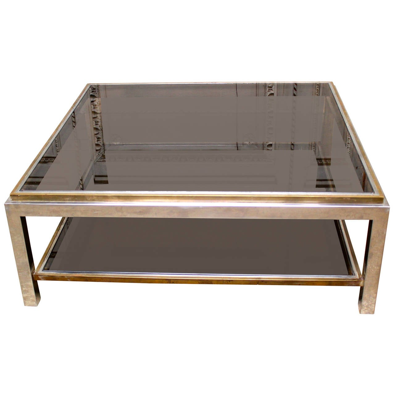 French Brass and Chrome Cocktail Table with Smoke Glass