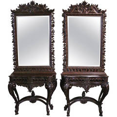 Pair of Portuguese Carved Chestnut Consoles and Mirrors